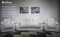 """Комплект мягкой мебели """"Бостон"""" Диван трёхместный раскладной + 2 Кресла с электрическим реклайнером, Слоновая кость"""