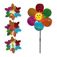 Ветрячок M 0801  диаметр 23 см, длина палочки 40 см, цветок, микс видов FFD