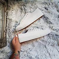 Белые женские / подростковые кеды с рифленым носочком