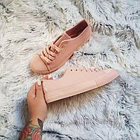 Розовые женские / подростковые кеды с рифленым носочком»