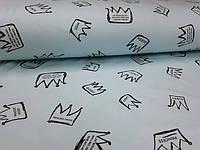 Трикотаж двунитка Короны черные на аква