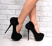 Туфли замша , пяточка натуральный кролик. Каблук 14 см, скрытая платформа 5 см