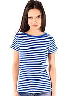 Полосатая футболка морячка женская летняя тельняшка хлопок хб синий белый трикотажная (Украина) 46