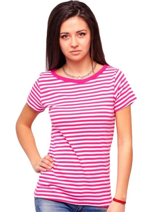 Футболка в полоску женская на лето с коротким рукавом хлопок хб розовый белый трикотажная Украина