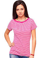 Футболка в полоску женская на лето с коротким рукавом хлопок хб розовый белый трикотажная (Украина) 54