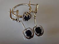 Комплект серьги кольцо сапфиры крупные натуральные серебро 925