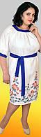 Легкое летнее льняное платье в этническом стиле с яркой отделкой и вышивкой, большие размеры