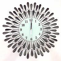Часы настенные стекло металл- капельки 60см
