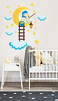 """Сказочная наклейка для детей виниловая """"Мишка на луне"""" в детскую"""