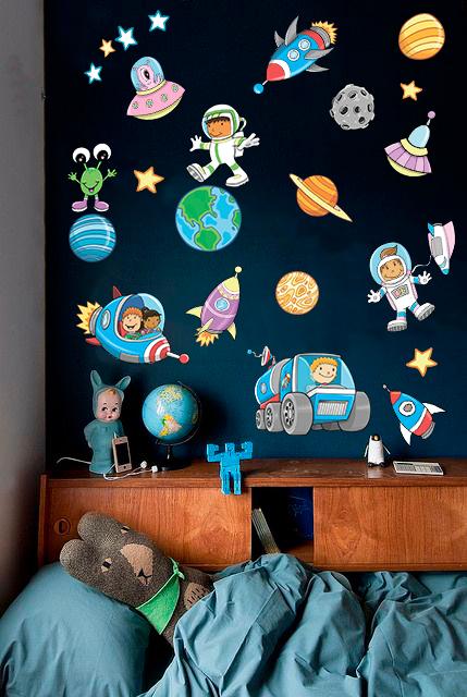 """Детская наклейка на стену виниловая  """"Космос"""" в детскую для мальчика"""