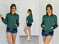 Женская зеленая замшевая  ветровка 12П34
