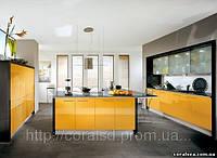 Ярко желтая Кухня с пластиковыми фасадами.