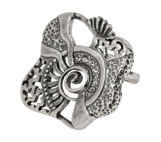 "Кольцо ""Мазагран"" с кристаллами Swarovski, покрытое серебром (j0263000)"