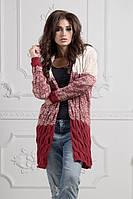 Кардиган женский вязаный, материал - акрил+шерсть, цвет - бело-красный
