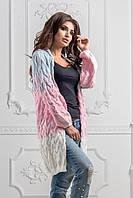Кардиган женский вязаный, материал - акрил+шерсть, цвет - бело-голубой