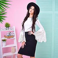 Костюм женский стильный блузка с рукавами-клеш и юбка карандаш разные цвета Kb544