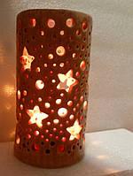 Подсвечник керамический ручной работы розовый 13см (высота)х 7см, фото 1