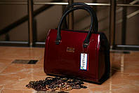 Сумочка элегантная стильная лаковая красная черные ручки женская