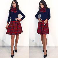 Женское теплое и удобное платье с шарфом. Ткань: шерсть с трикотажем. Размер: с, м, л.