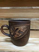 Чашка чайная 300 мл красная глина резка