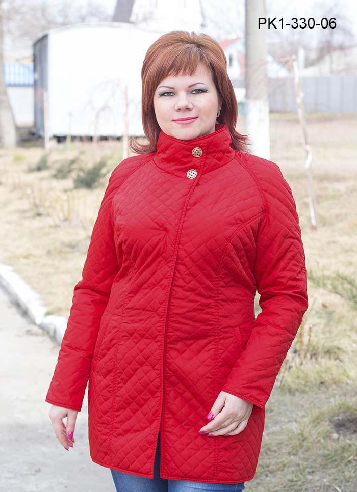 Женская стеганная курточка на осень цвет красный размер 44