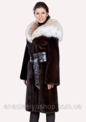 """Норковое пальто цвета """"махагон"""" + рысь"""
