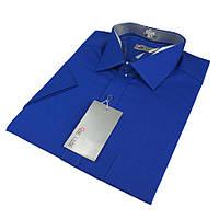 Чоловіча класична сорочка De Luxe 38-46 к/р 201K василькового кольору
