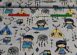 Ткань польская с маленькими индейцами, цвет синий на сером фоне №858, фото 5