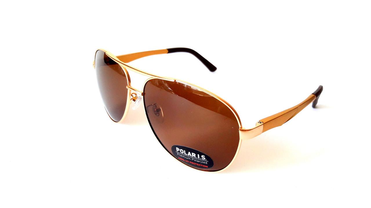 Солнцезащитные очки с поляризацией Polaris, авиатор, металл, золото,  унисекс - Интернет- 357cf2d63b3