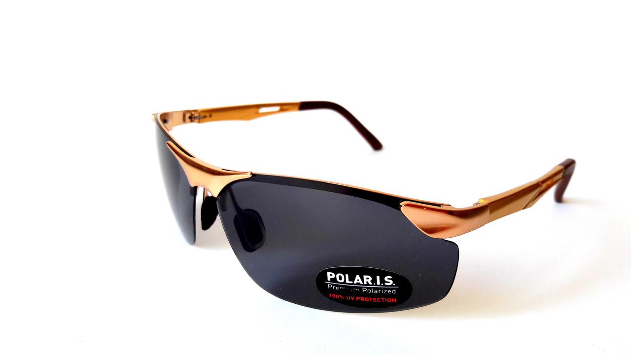 Солнцезащитные очки с поляризацией Polaris, безободковая, металл, золото,  унисекс, с флексами f112e964606