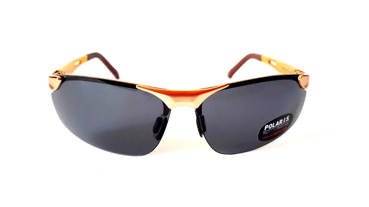 Солнцезащитные очки с поляризацией Polaris, безободковая, металл, золото,  унисекс, ... 8a87b717f14