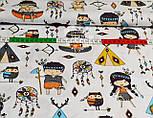 Ткань с маленькими индейцами, цвет серый на белом фоне (№859), фото 2