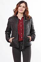 Женская легкая куртка стеганная черная без капюшона