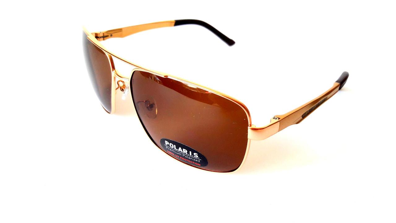 Солнцезащитные очки с поляризацией Polaris, металл, золото, унисекс, с  флексами 909996238e9