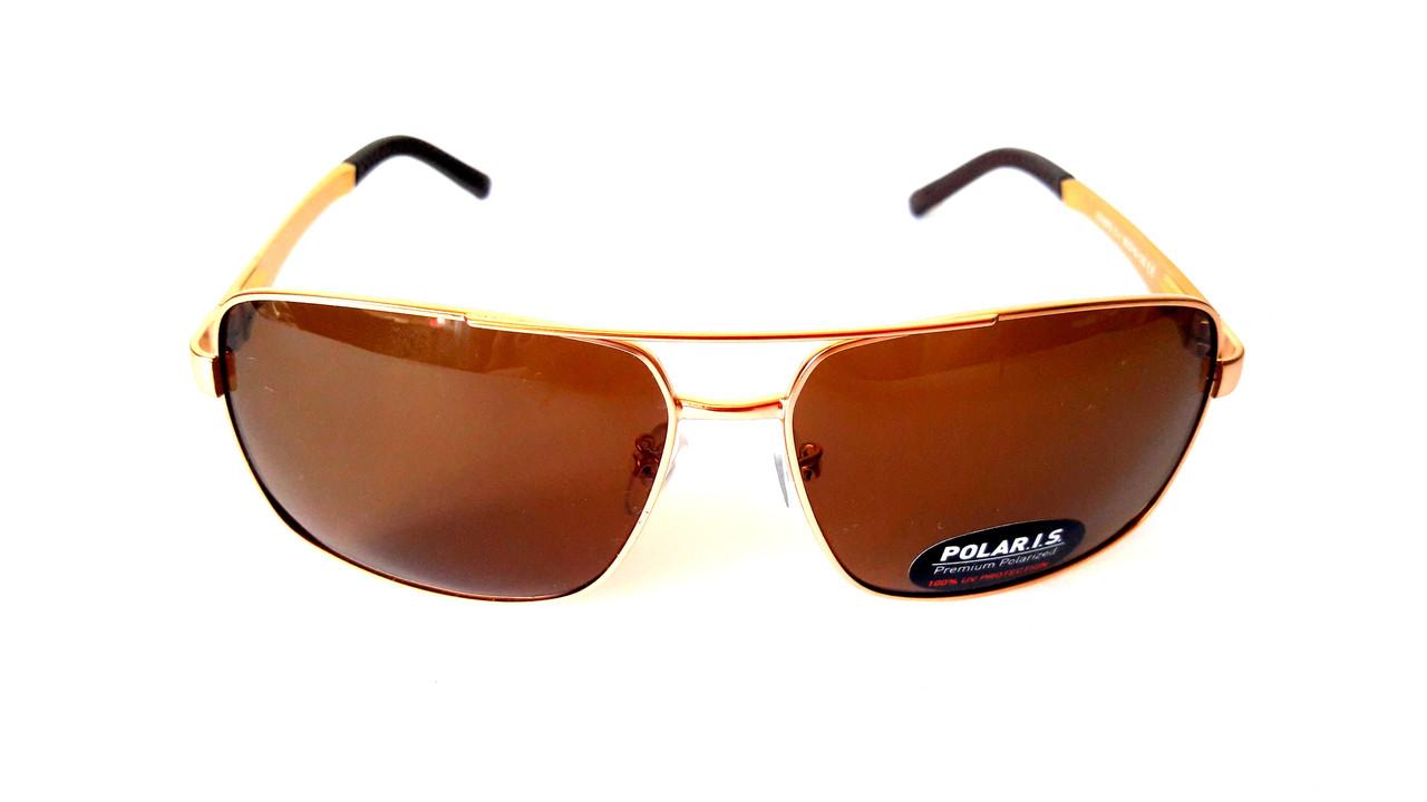 Солнцезащитные очки с поляризацией Polaris, металл, золото, унисекс, с  флексами, ... 59a4bc87131