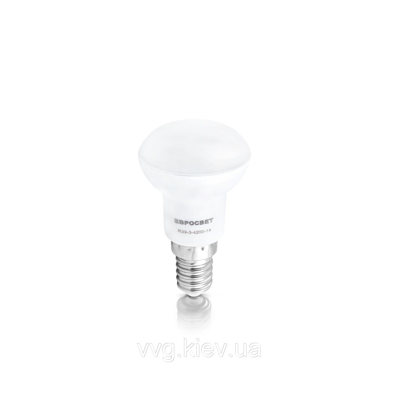 Светодиодная лампа R39 3W 3000K E14 220V R39-3-3000-14 ЕВРОСВЕТ (000039151)