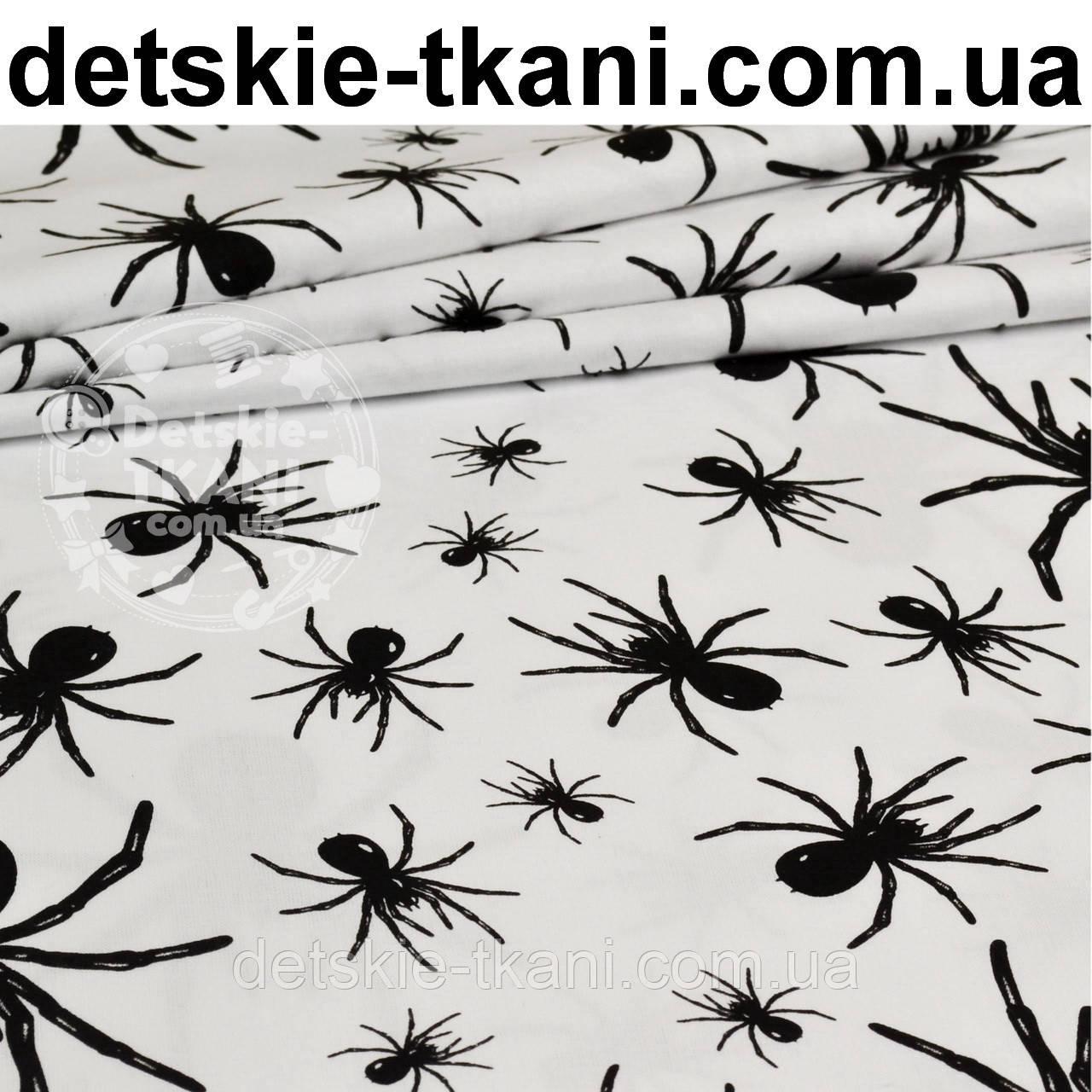 Польская бязь с черными пауками на белом фоне (862) - Детские ткани оптом и в розницу в Волынской области