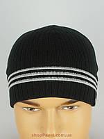 Мужская вязаная шапка Adidas 085 на флисе