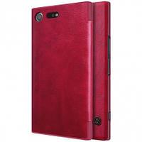 Кожаный чехол-книжка Nillkin Qin для Sony Xperia XZ Premium (Красный)