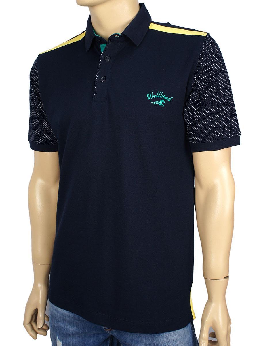 Тенниска мужская WellBred WBD-410  темно-синего цвета