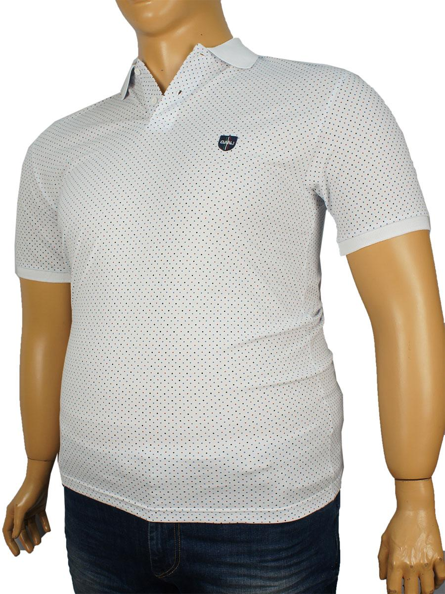 Тенниска мужская Ganj 0763 белая в горошек