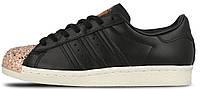 """Женские кроссовки Adidas Originals Superstar 80s Metal Toe TF """"Core Black"""" (Адидас Суперстар) черные"""