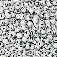 (20грамм) Пластиковые бусины - АЛФАВИТКА  8х8мм Цена за 20 грамм (прим. 80 шт)
