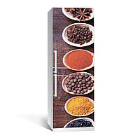 Наклейка на холодильник Специи (виниловая наклейка, самоклейка, оклеить холодильник, декор кухни)