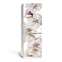 Наклейка на холодильник Цветы вишни  (виниловая наклейка, самоклейка, оклеить холодильник, декор )