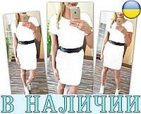 Стильное приталенное платье с карманами и вставкой из экокожи Vella