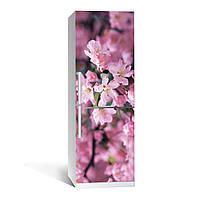 Наклейка на холодильник Цветение 02 ( (виниловая наклейка, самоклейка, оклеить холодильник, декор)