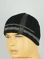 Теплая мужская вязаная шапка Head Zonе 085 на флисе