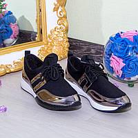 Кроссовки Материал: стрейч + обувной текстиль Цвет: ЧЕРНЫЙ + СЕРЕБРО