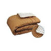 Одеяло теплое овечья шерсть хлопок 200х220 Руно Париж коричневое